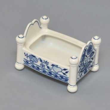 Spodní díl k dóze na bonbóny - postýlka 12 x 9 cm originální cibulákový porcelán Dubí, cibulový vzor,