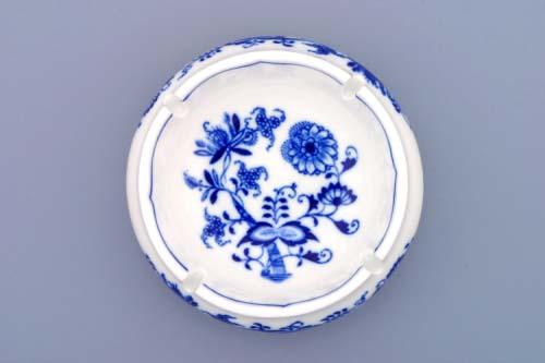 Cibulák popelník kulatý s výřezy 13 cm originální cibulákový porcelán Dubí, cibulový vzor, 2.jakost