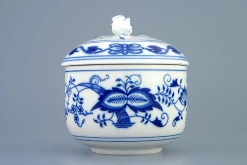 Cibulák Cukřenka s víčkem bez výřezu, 0,20 l, originální cibulákový porcelán Dubí, cibulový vzor