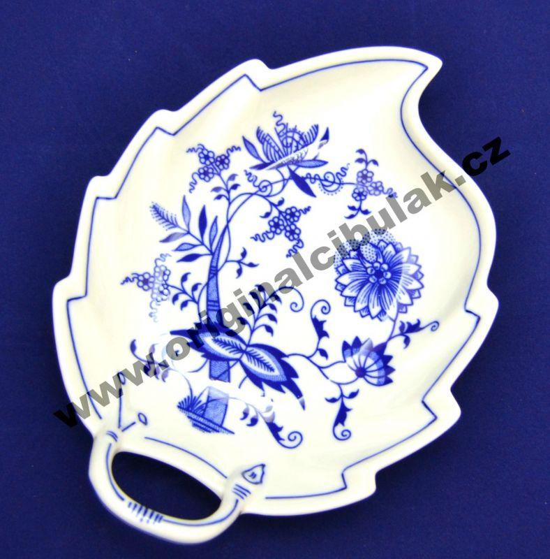 Cibulák mísa list 19 cm originální cibulákový porcelán Dubí, cibulový vzor, 2.jakost