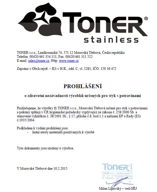 certifikat TONER