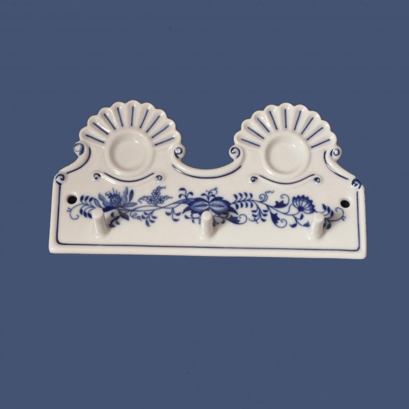 Cibulák kuchyňský věšák s dírkami 18 cm originální cibulákový porcelán Dubí, cibulový vzor,