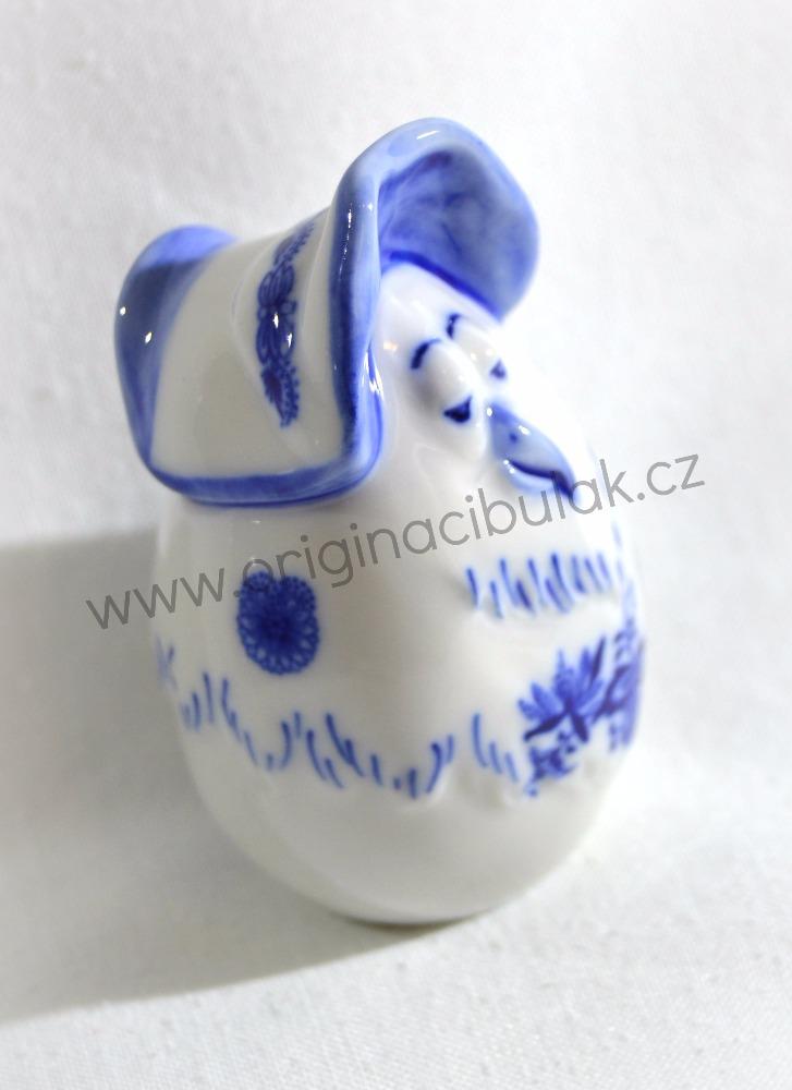Cibulák Vejce slepička s čepcem 7,3 cm originální cibulákový porcelán Dubí, cibulový vzor,