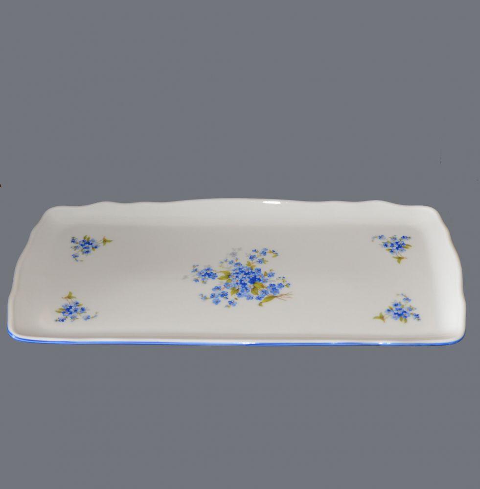 podnos čtyřhranný pomněnky 33 cm porcelán Dubí modrá linka