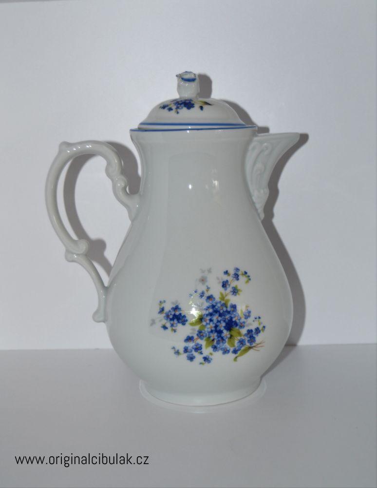 Konvice kávová pomněnky 1,55 l Český porcelán Dubí modrá linka