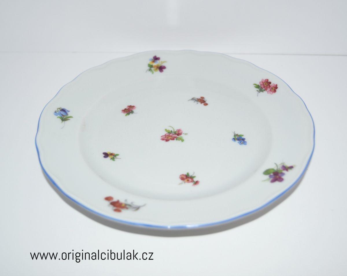 talíř dezertní praporový 19 cm házenka Rakouská modrá linka originální porcelán Dubí