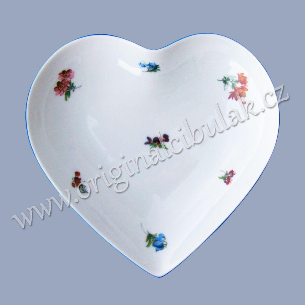 Miska srdce házenka Rakouská modrá linka originální porcelán Dubí