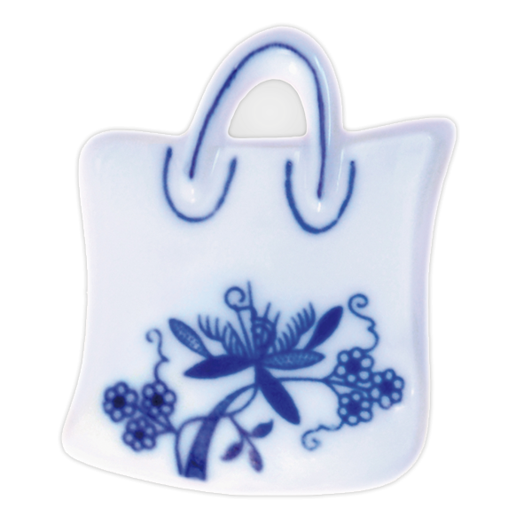Cibulák magnetka nákupní taška 6,2cm originální cibulákový porcelán Dubí, cibulový vzor,