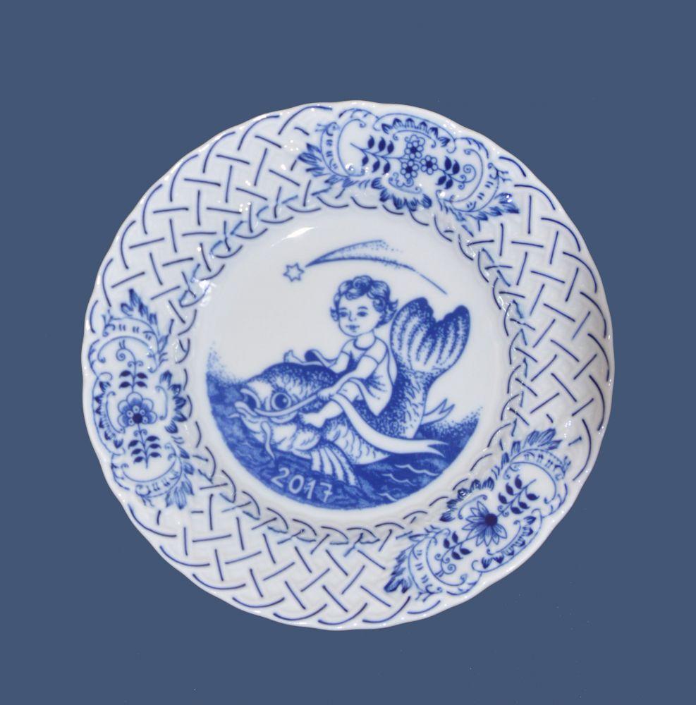 Cibulák výroční talíř 2017, 18 cm originální cibulákový porcelán Dubí , cibulový vzor,