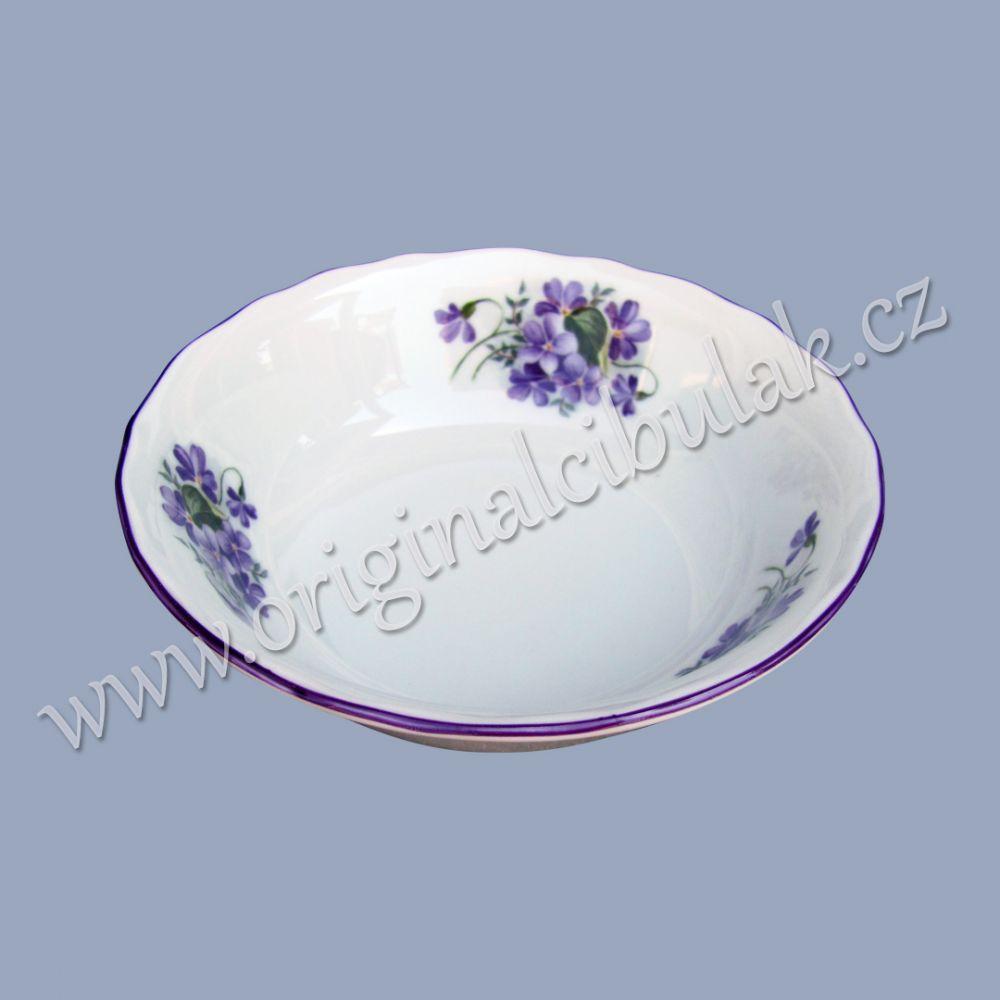 Miska na kompot fialka 14 cm Český porcelán Dubí fialová linka