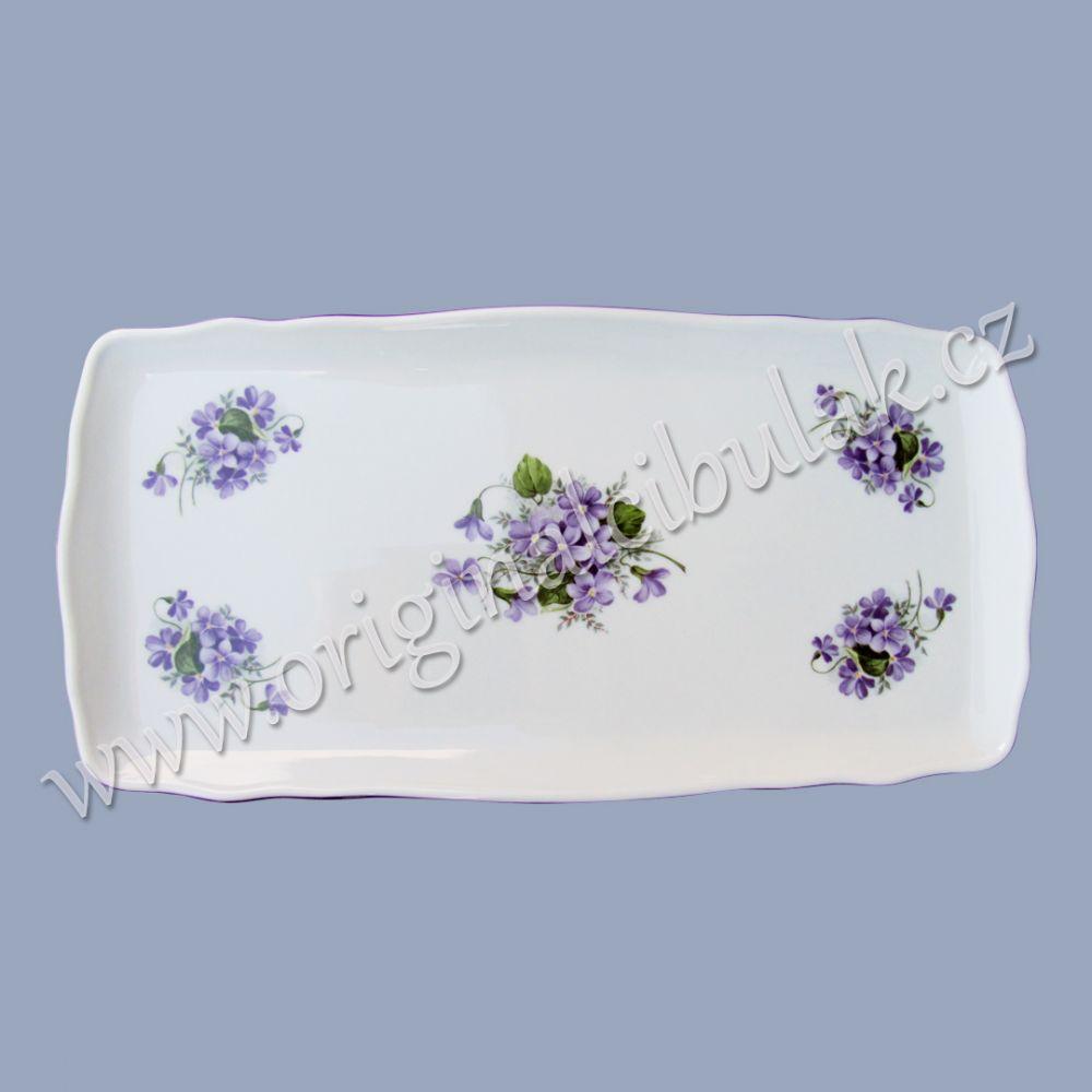 podnos čtyřhranný fialky 33 cm porcelán Dubí fialová linka