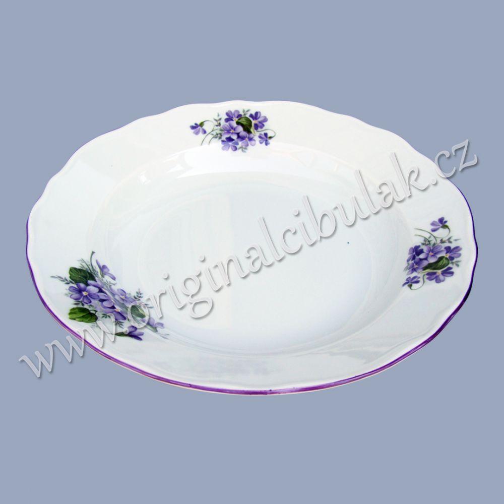 talíř fialky hluboký 24 cm Český porcelán Dubí fialová linka