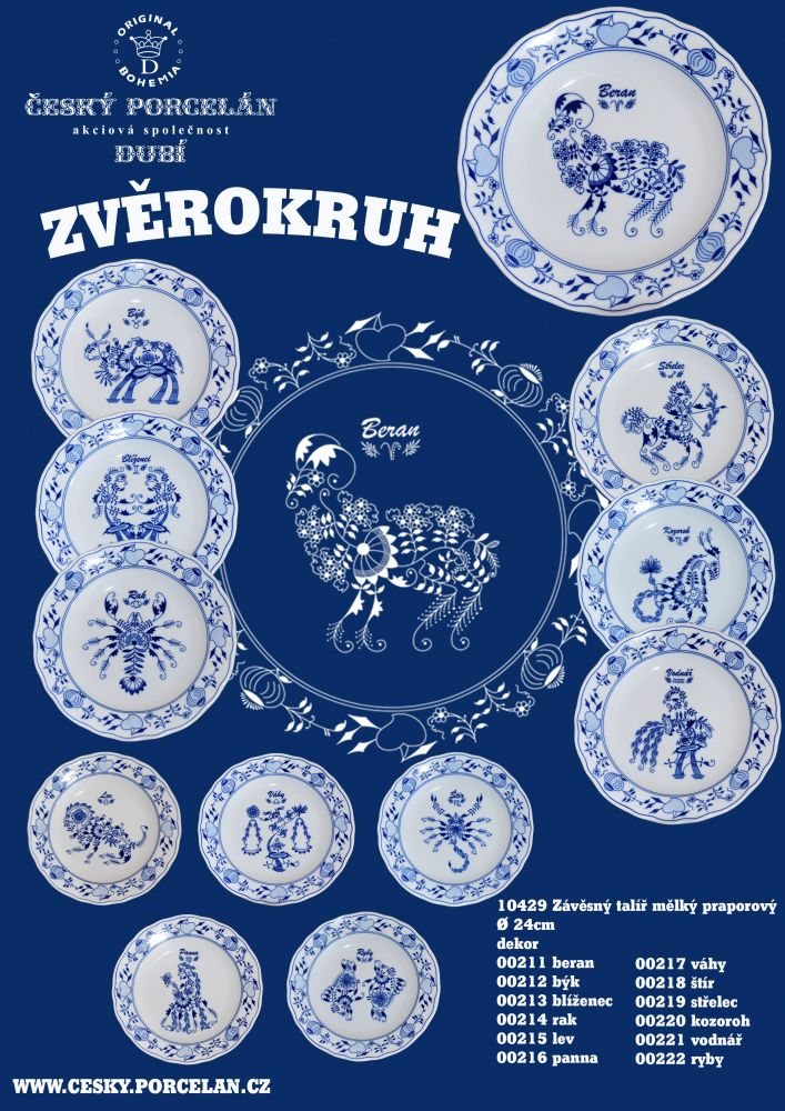 Cibulák talíř 24 cm zvěrokruh Váhy horoskop Český porcelán Dubí