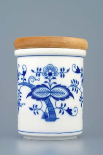 Cibulák dóza s dřevěným uzávěrem B střední 11 cm originální cibulákový porcelán Dubí, cibulový vzor,