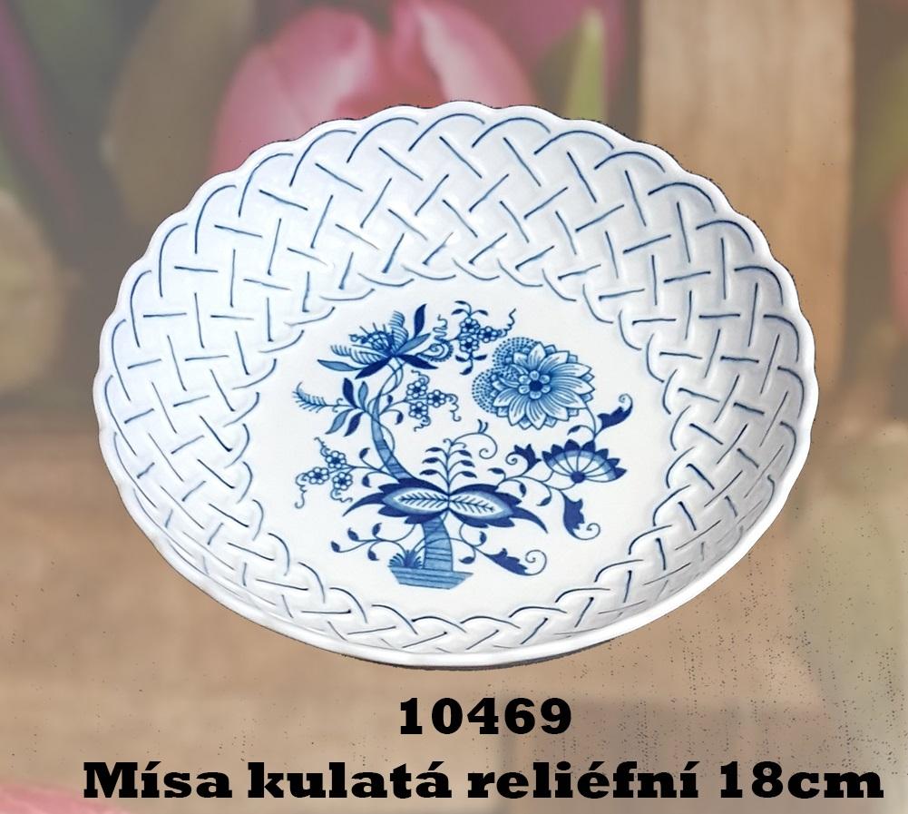Cibulák Mísa kulatá reliefní 18 cm originální cibulákový porcelán Dubí, cibulový vzor,
