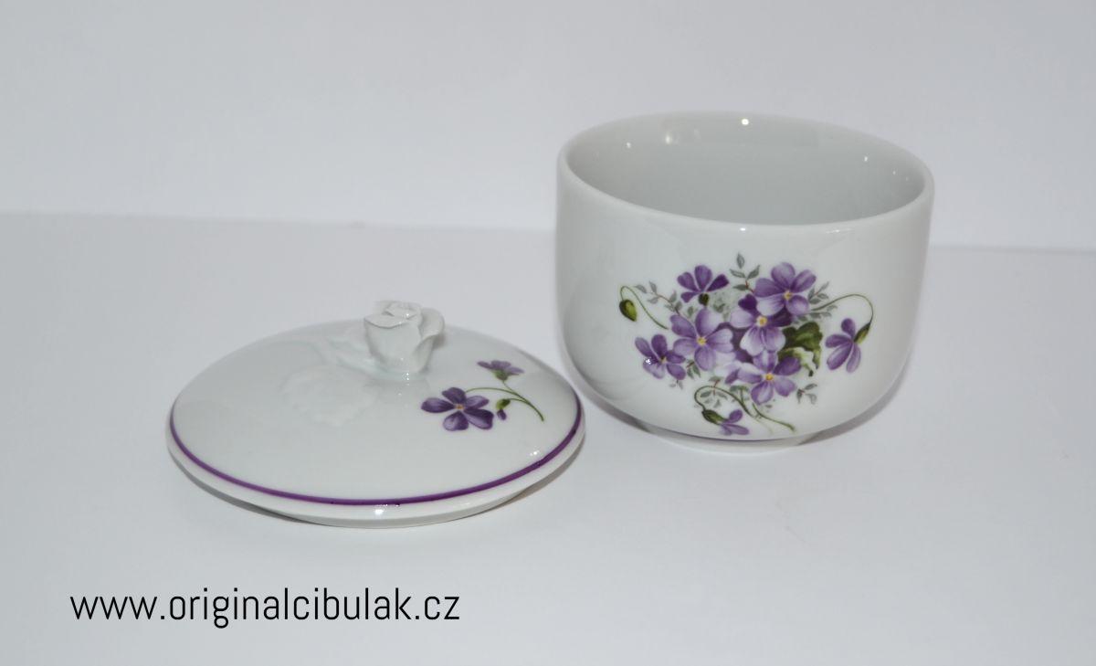 Cukřenka Fialky 0,20 l Český porcelán Dubí fialová linka