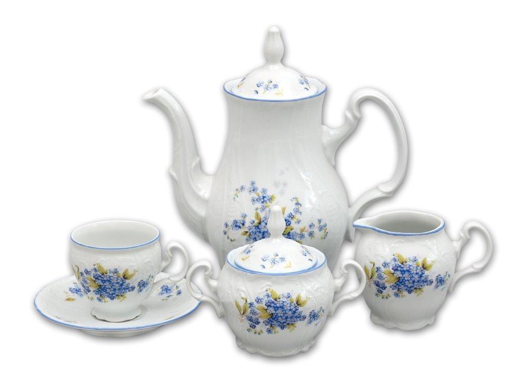 Pomněnky Bernadotte kávová souprava porcelán Thun 6 osob 15 dílů český porcelán Nová Role