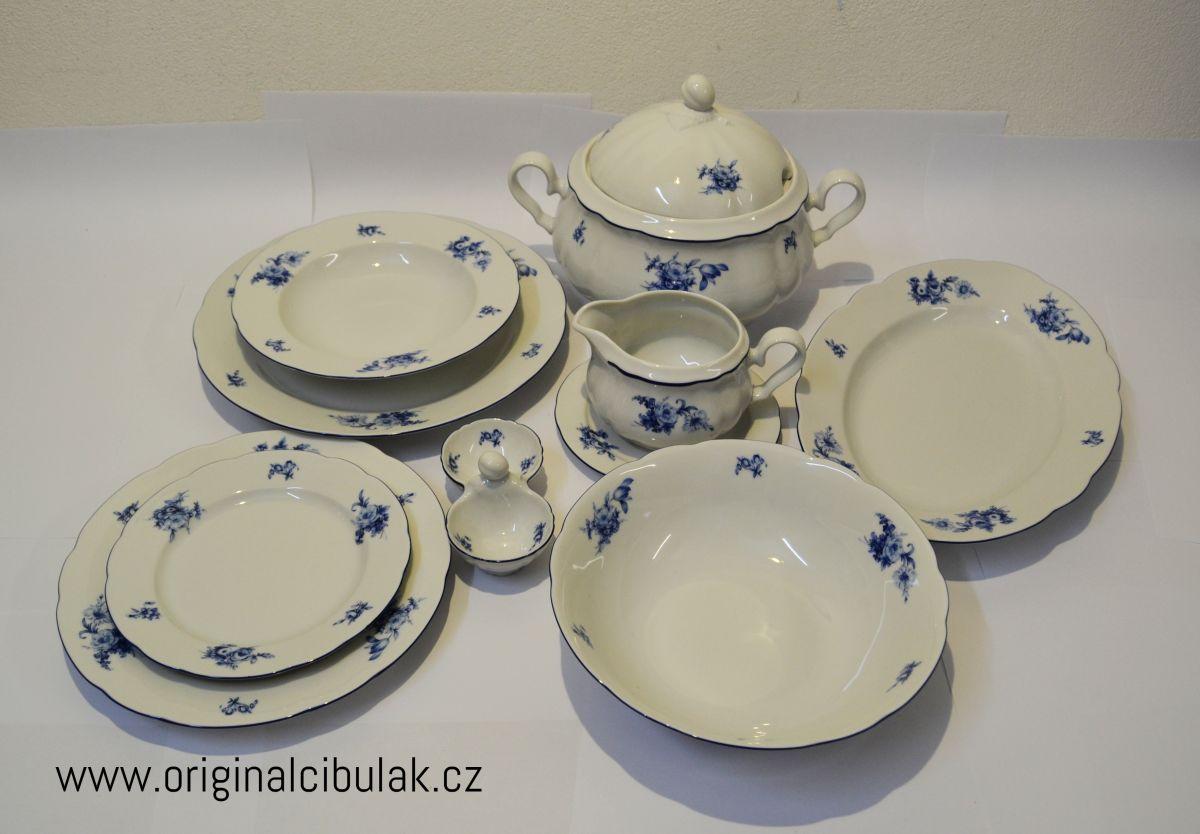 jídelní souprava Rose růže modrá Thun a.s. 6 osob 25 dílů český porcelán Nová Role