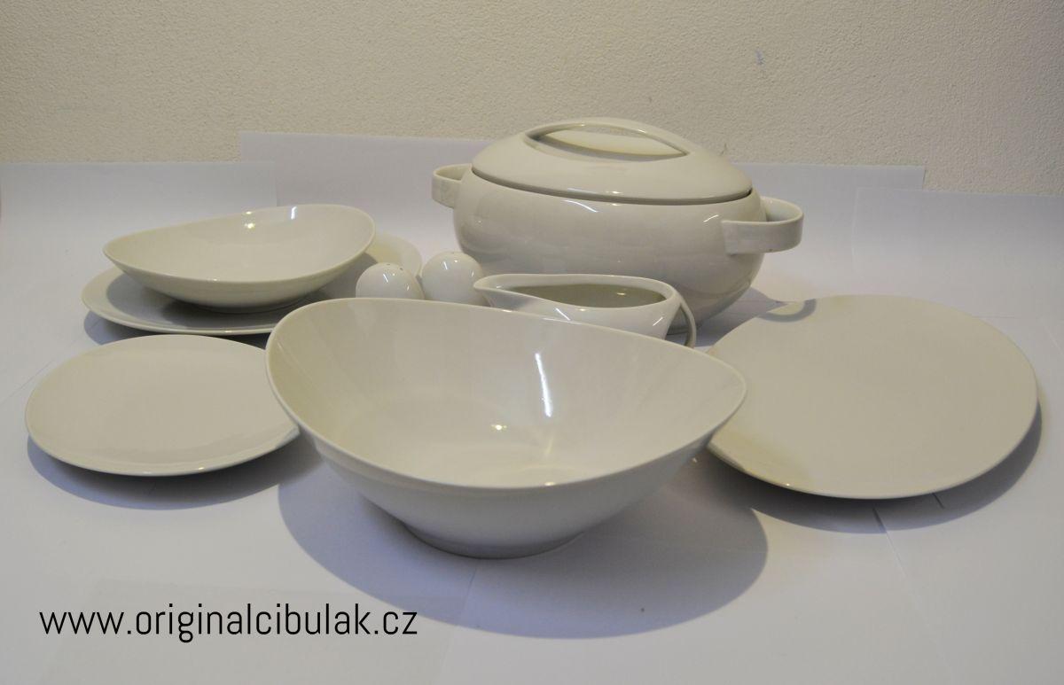 Loos jídelní souprava bílý porcelán Thun 6 osob 24 dílů český porcelán Nová Role
