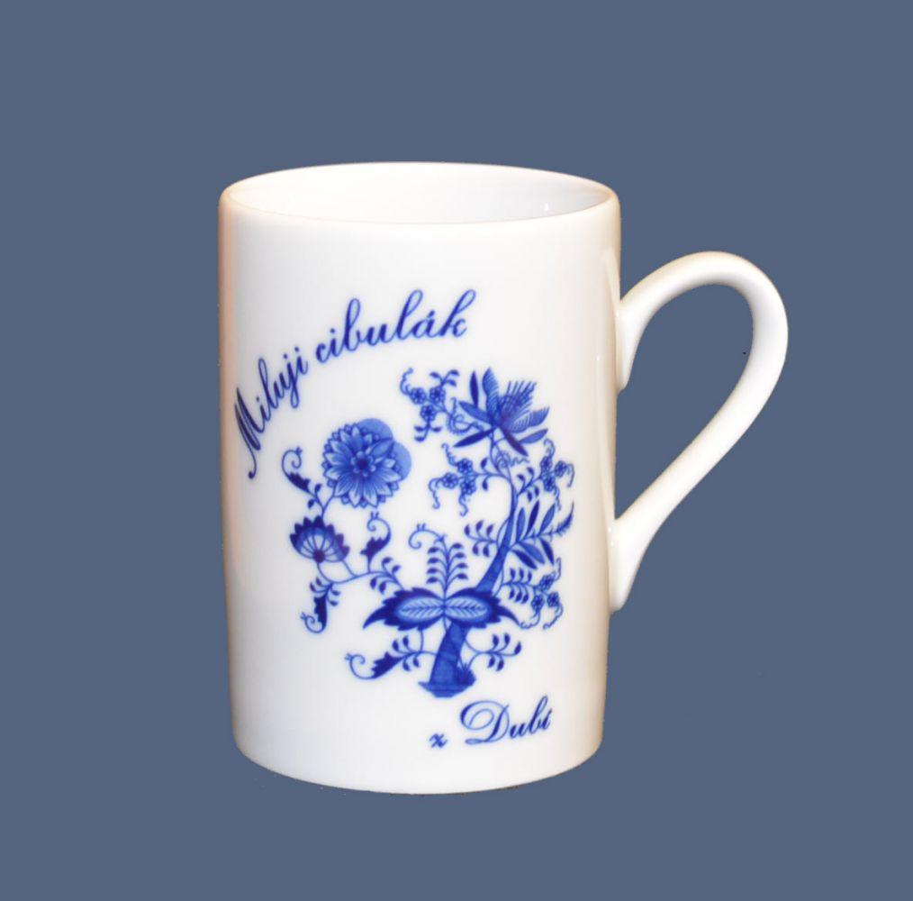 Cibulák hrnek Miluji cibulák Roky 0,28 l , cibulový vzor, český porcelán Dubí