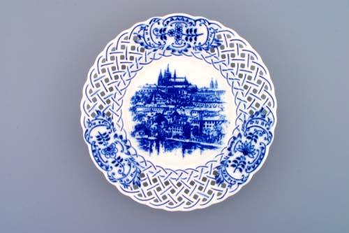 Cibulák talíř závěsný prolamovaný Praha 18 cm originální cibulákový porcelán Dubí, cibulový vzor,