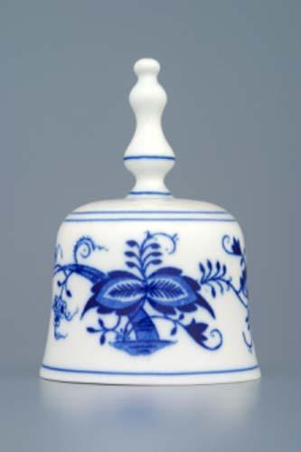 zvonek 11 cm originální cibulákový porcelán Dubí, cibulový vzor,