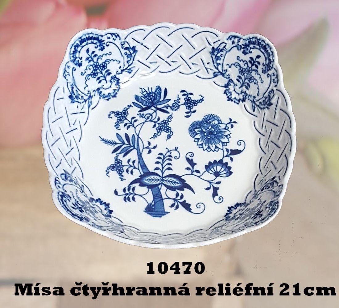 Cibulák Mísa čtyřhranná prolamovaná 21 cm originální cibulákový porcelán Dubí, cibulový vzor, 2.jakost