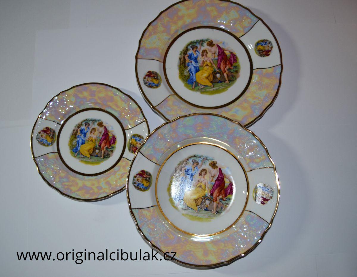 talířová souprava Tři Grácie porcelán Bernadotte Thun 6 osob 18 dílů český porcelán Nová Role