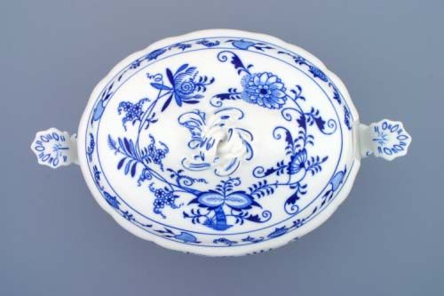 Víko k míse polévkové oválné 3 l, originální cibulákový porcelán Dubí, cibulový vzor