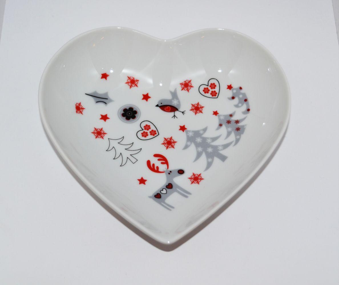 Mísa srdce vánoční motiv sob Český porcelán Dubí
