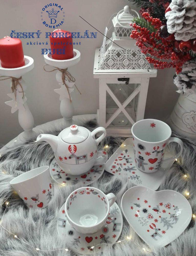 Mísa čtverec snídaňový tác vánoční motiv sob Český porcelán Dubí