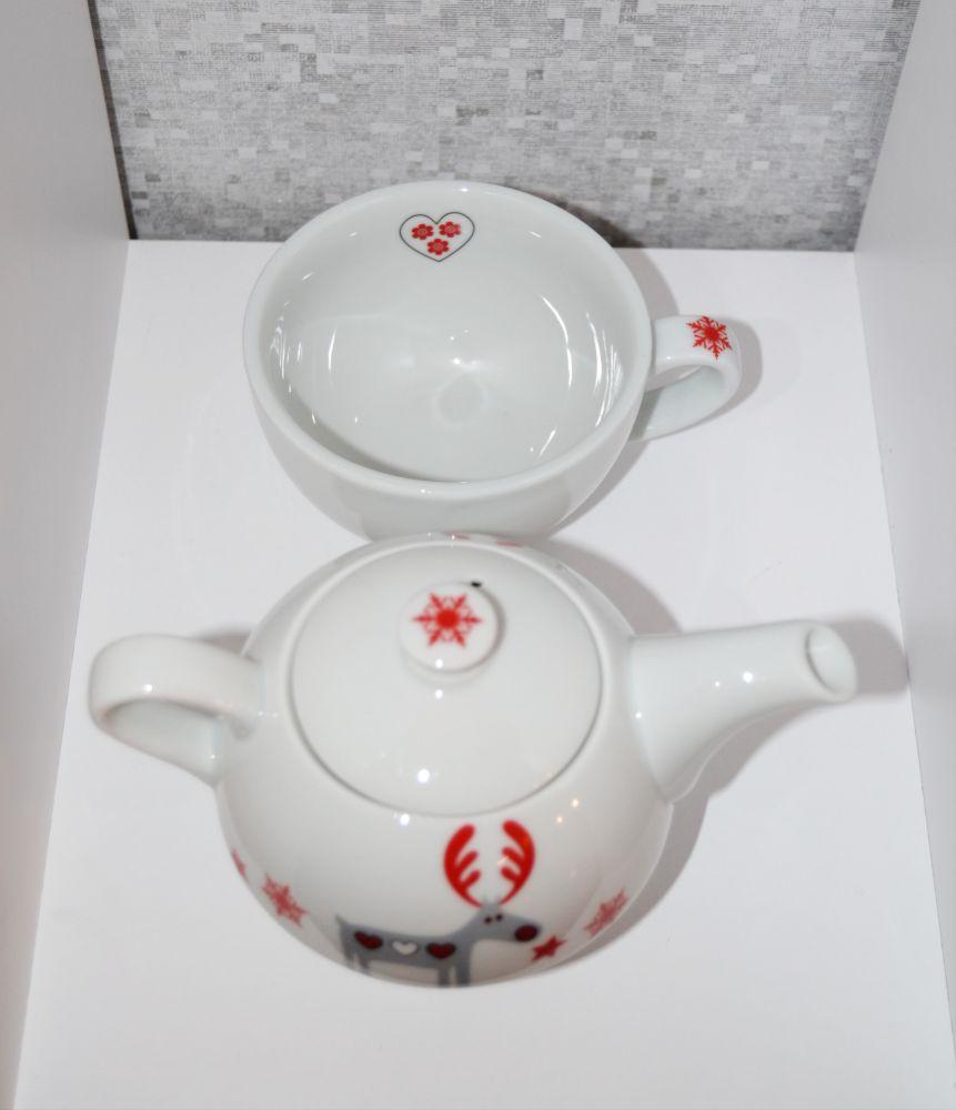 Čajová souprava vánoční motiv sob Duo třídílná 0,45 l český porcelán Dubí