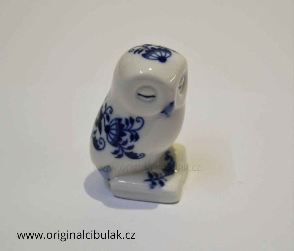 Cibulák Moudrá sovička 6cm originální cibulákový porcelán Dubí, cibulový vzor