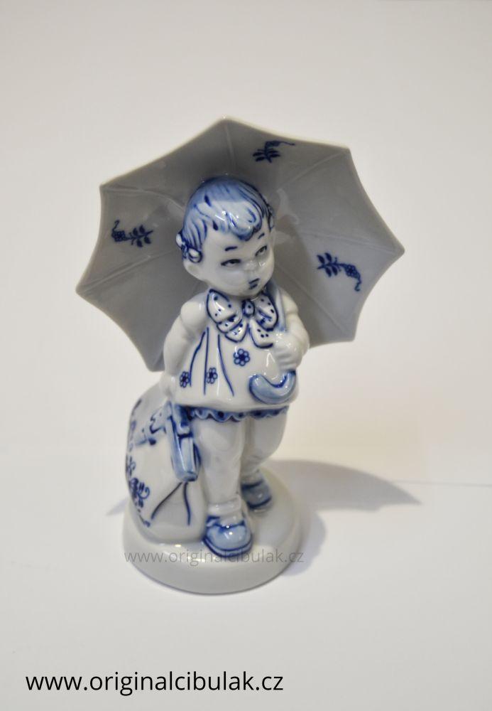 Cibulák Děvčátko s deštníkem 16 cm originální cibulákový porcelán Dubí, cibulový vzor
