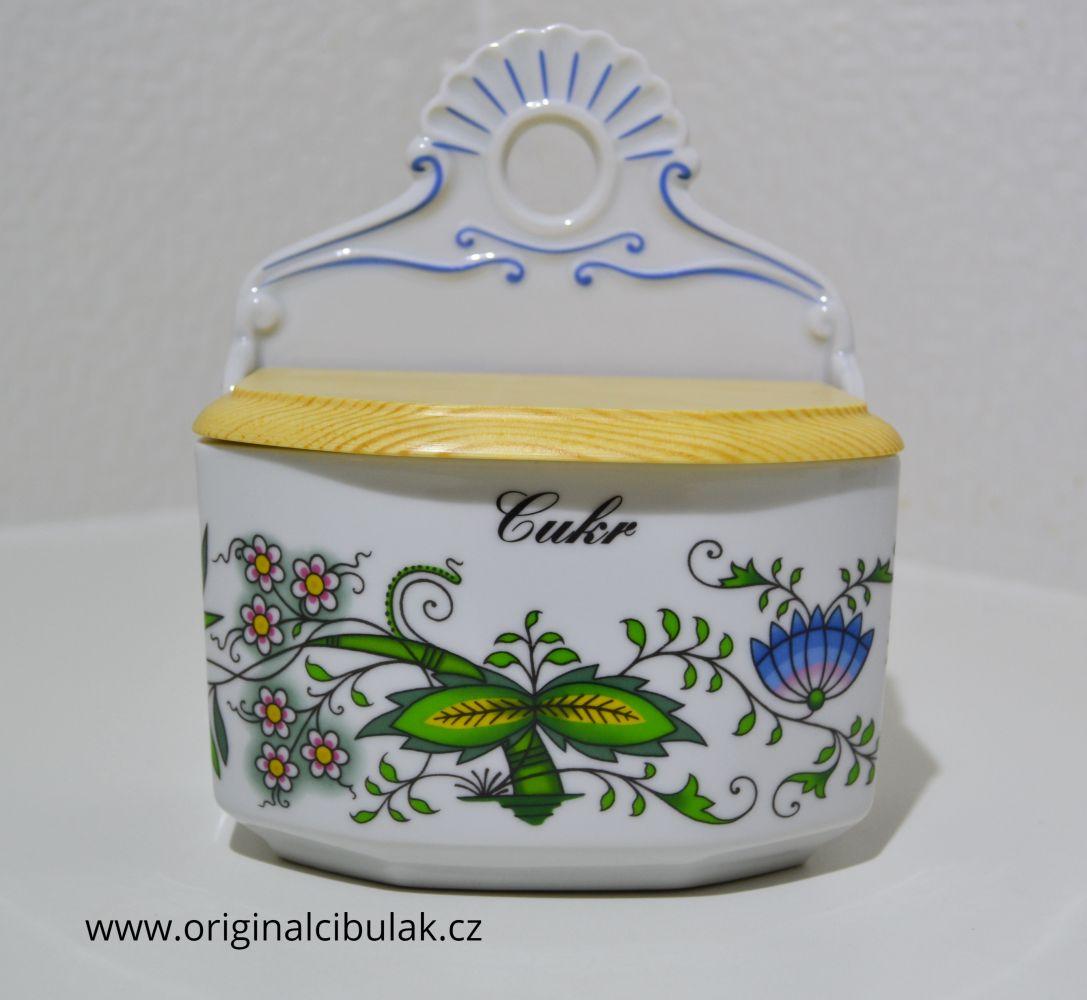 Slánka závěsná s víkem Cukr 0,70 l barevný cibulák porcelán Dubí