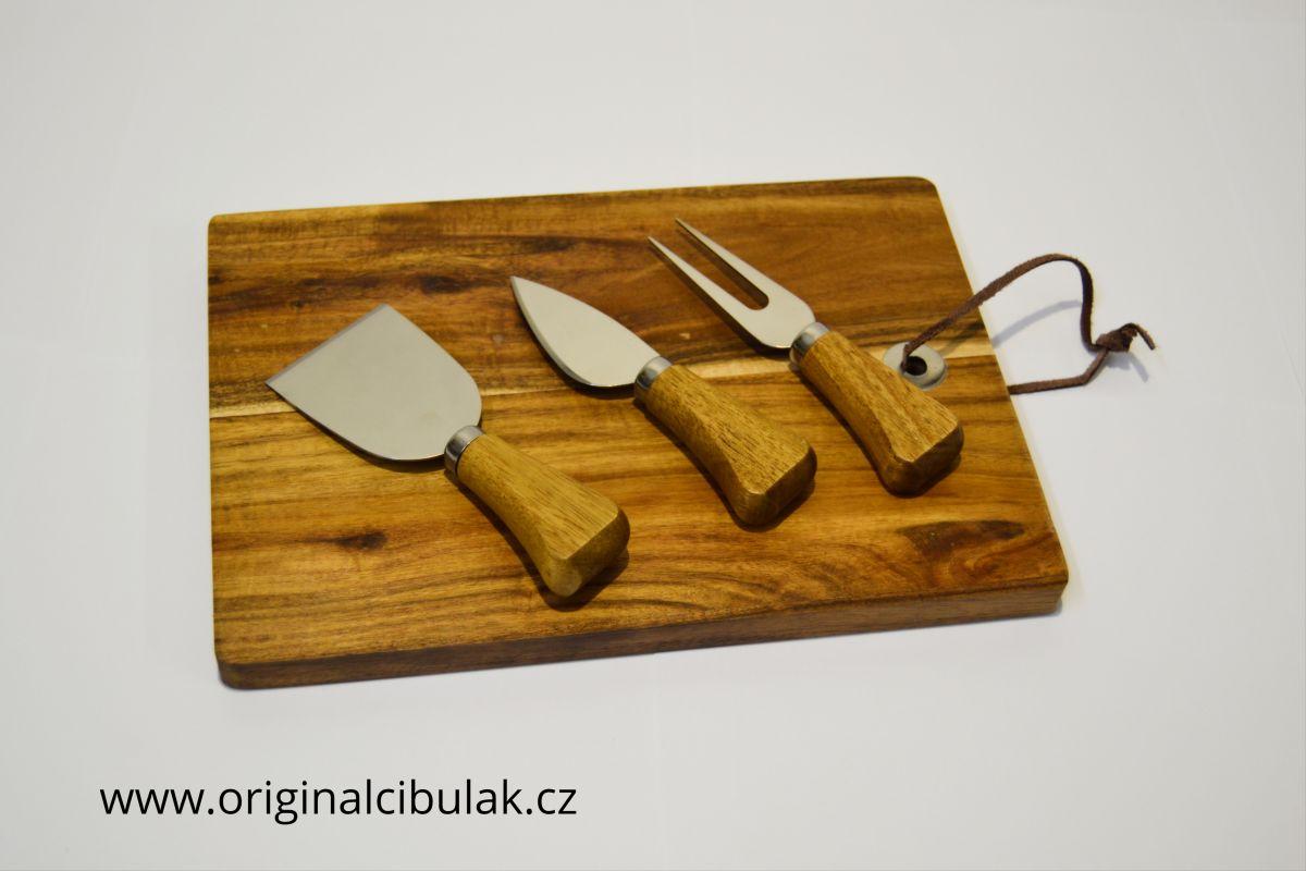 souprava na sýr prkenko nůž vidlička sekáček dárková kazeta 24 cm Collini