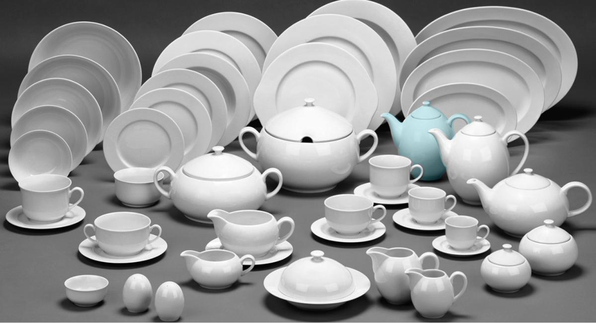 talíř mělký 25 cm Opál krajka modrá 80136 Thun 1 ks český porcelán