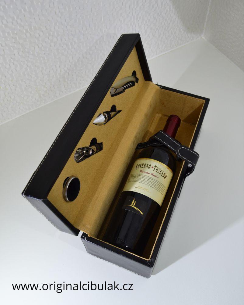 box na víno luxusní koženka Berndorf 5 dílný