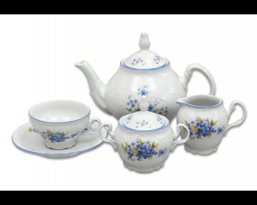 Pomněnky čajová souprava Bernadotte porcelán Thun 6 osob 15 dílů český porcelán