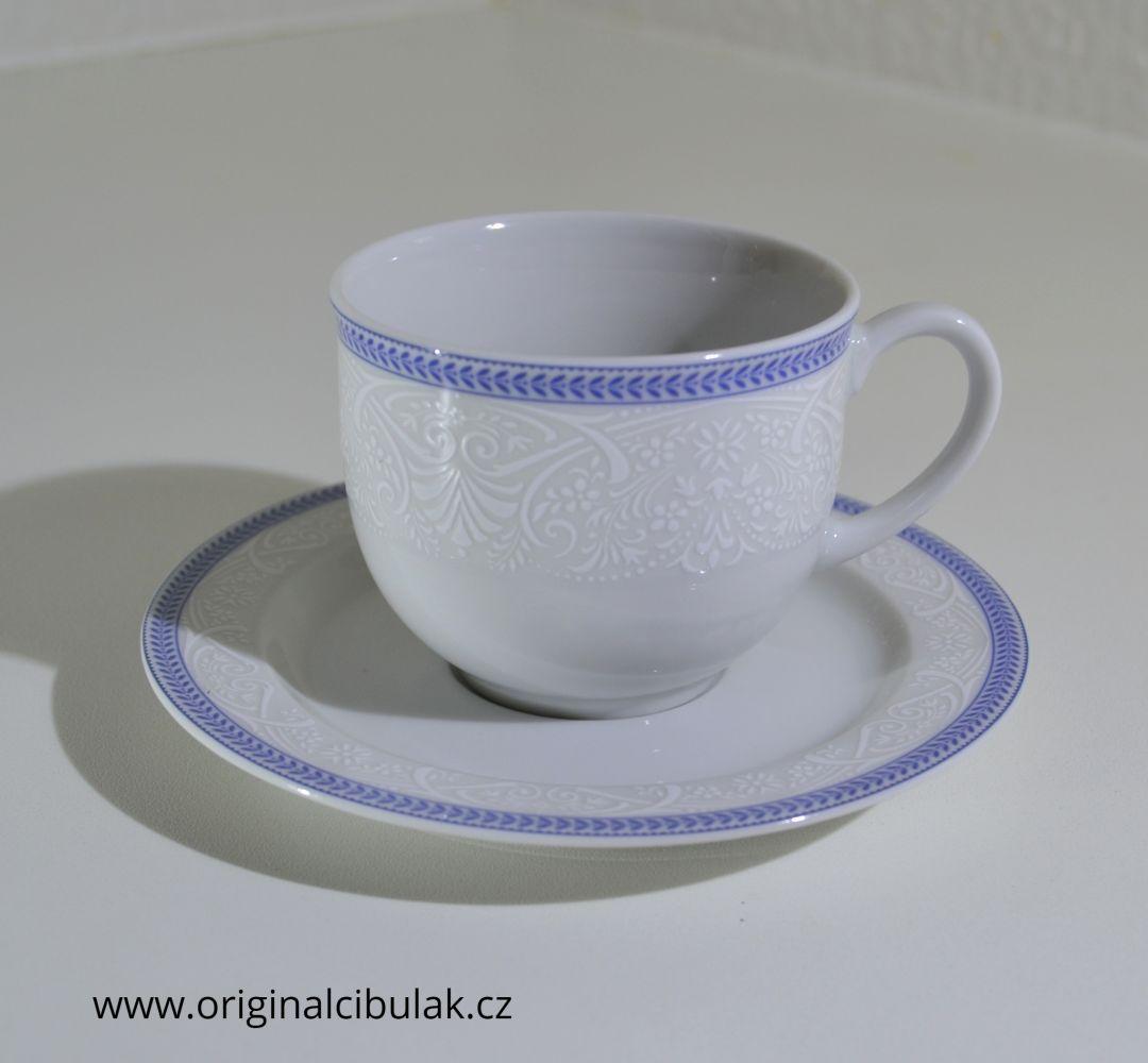 šálek podšálek Opál krajka modrá Thun 2 díly český porcelán Nová Role