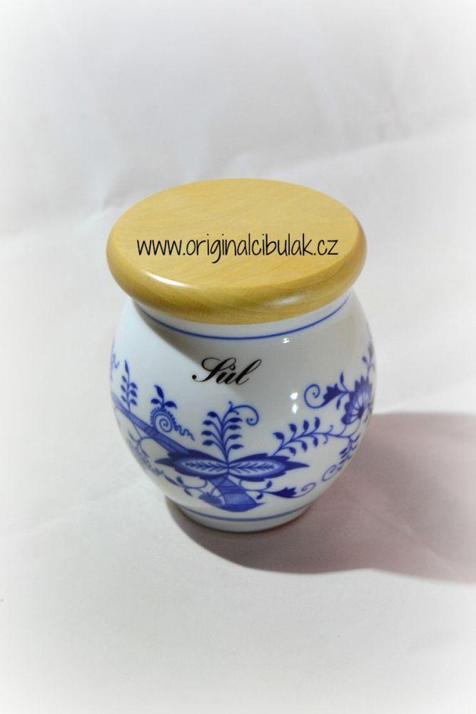 dóza cibulák Baňák s dřevěným uzávěrem sůl 10 cm český porcelán Dubí