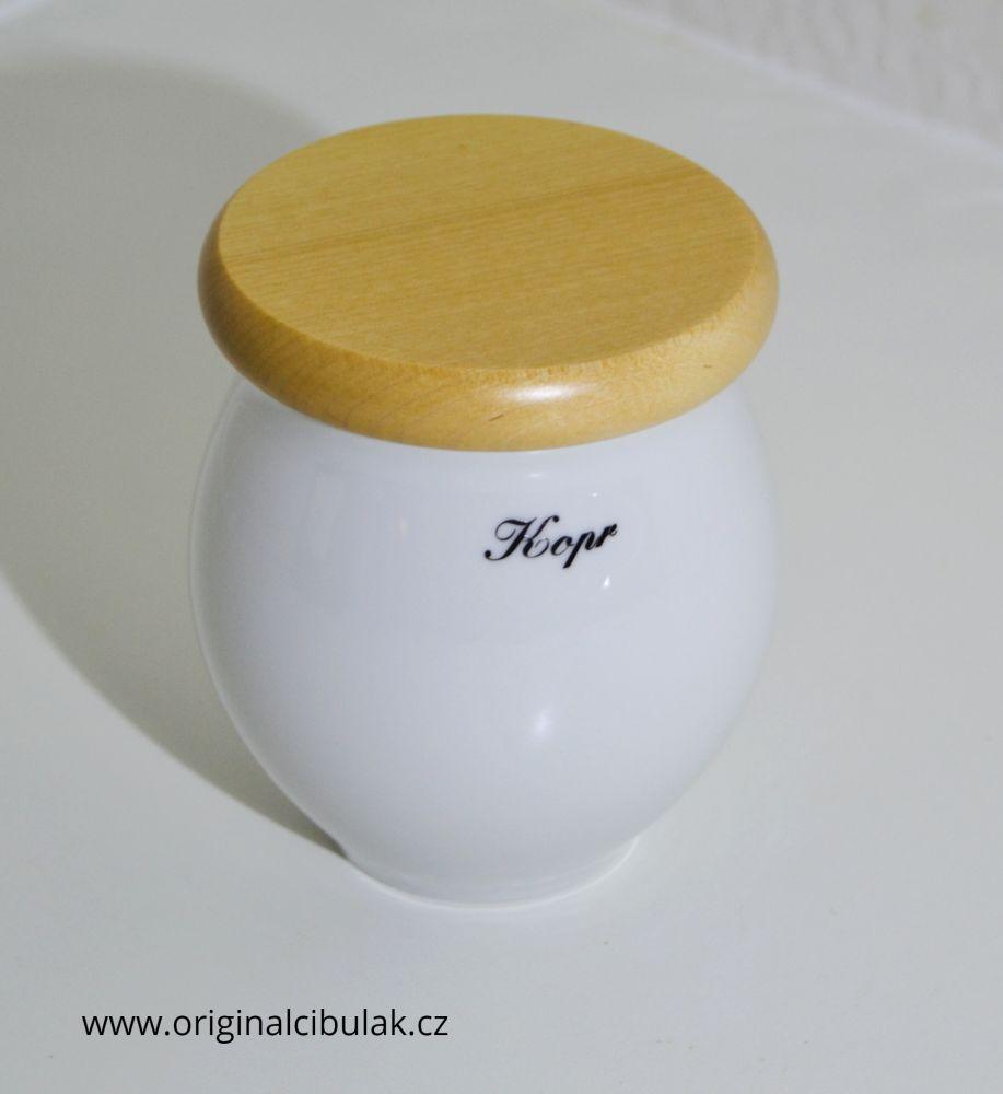 dóza Baňák s dřevěným uzávěrem Kopr bílá 10 cm český porcelán Dubí