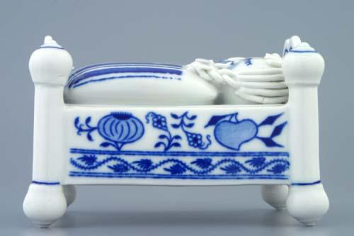 dóza cibulák na bonbóny postýlka komplet 12 cm originální český porcelán Dubí