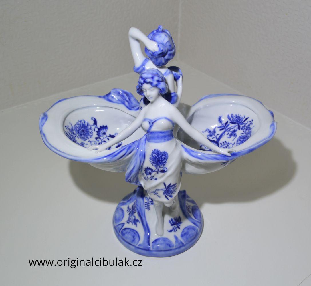 dívky s mušlemi cibulák 33 cm originální český porcelán Dubí Royal Dux Bohemia