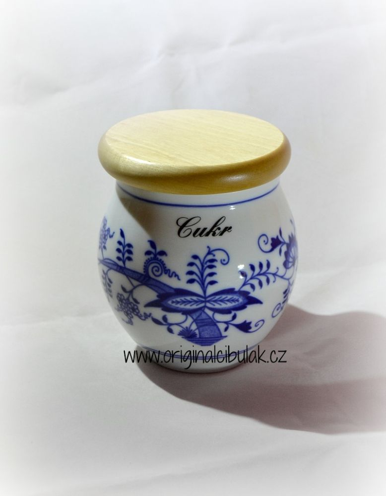Cibulák dóza Baňák s dřevěným uzávěrem Čaj 10,5 cm originální český porcelán Dubí