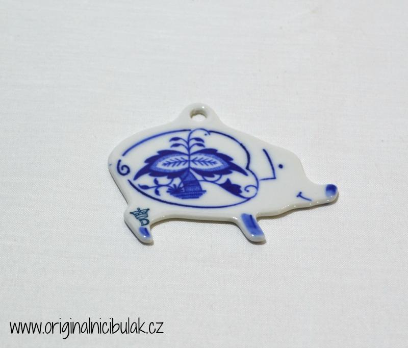 cibulák vánoční ozdoba prasátko závěs 7 cm originální český porcelán Dubí Royal Dux