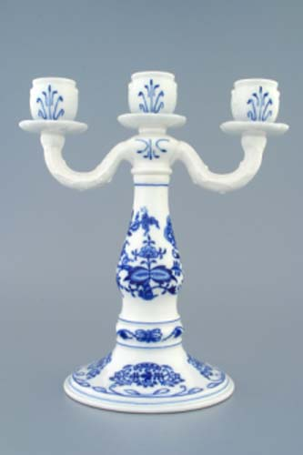 Cibulák Svícen tříramenný 25 cm originální český porcelán Dubí 2.jakost