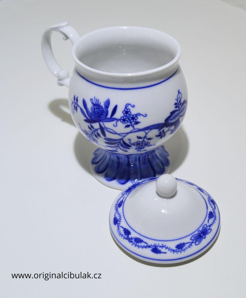 hrnek Květa cibulák originální český porcelán Dubí Dux 0,25 l