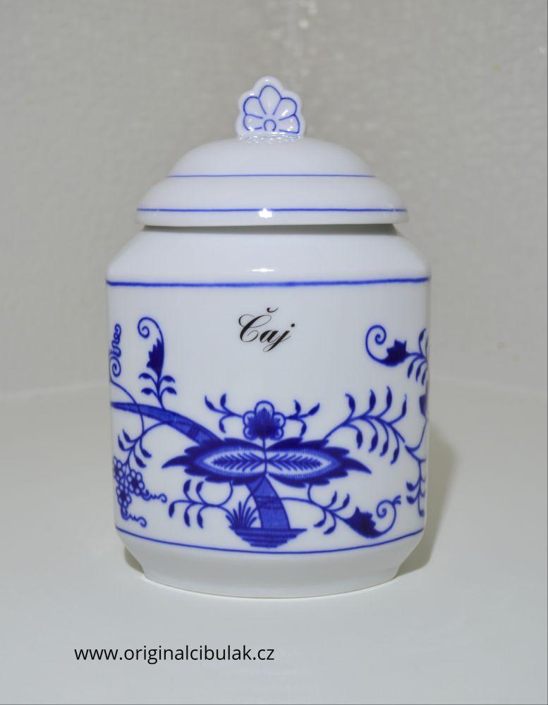 Cibulák dóza na poživatiny s víčkem a nápisem Čaj český porcelán Dubí