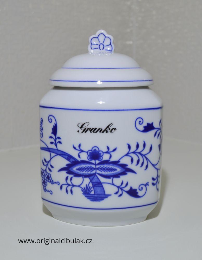 Cibulák dóza na poživatiny s víčkem a nápisem Granko český porcelán Dubí